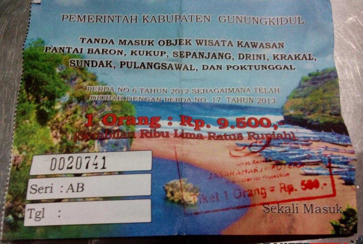 tiket masuk pantai