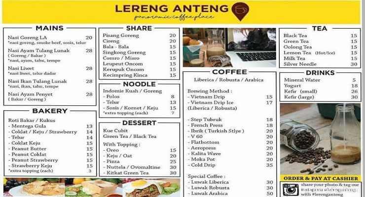 Daftar Menu Lereng Anteng Panoramic Coffe Bandung